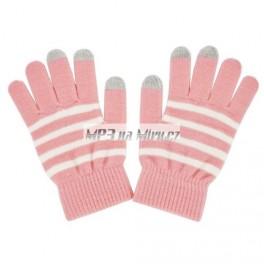 Rukavice na dotykový displej růžové