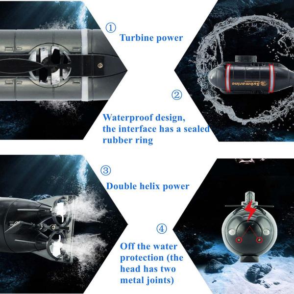 Je osvětlena LED světly. Ponorka Invento vydrží v provozu na jedno nabití až 6 minut a 9 minut se dobíjí.