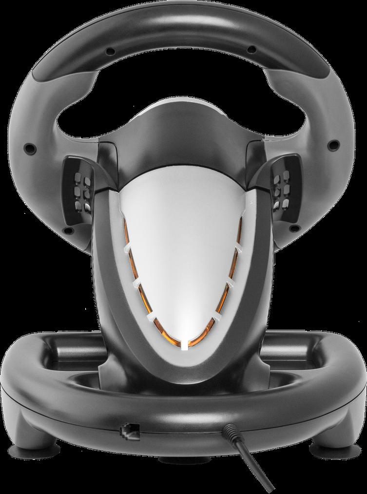 Stolní volant USB plus celkem 10 programovatelných tlačítek a dva spínače na sloupku řízení pro jednoduchou obsluhu při hraní her!