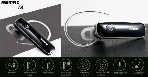 Bezdrátový Bluetooth headset Remax RB-T8 pro bezdrátové volání přes mobilní telefony, tablety, laptopy.