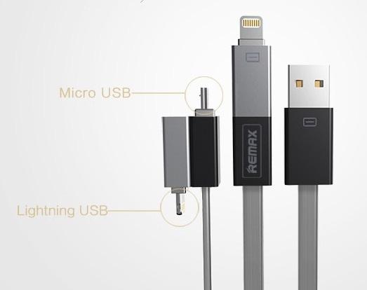 Shadow USB napájecí a synchronizační kabel Vám nabídne MicroUSB konektor s adaptérem Lightning na produkty od Apple, který díky magnetům můžete k sobě přichytit.