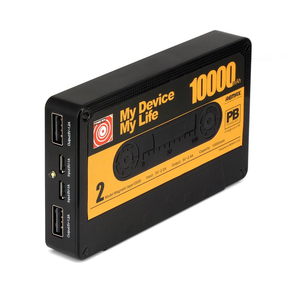 Speciální retro edice přenosné USB nabíječky Remax Tape s kapacitou baterie 10000mAh ve stylu kazety.