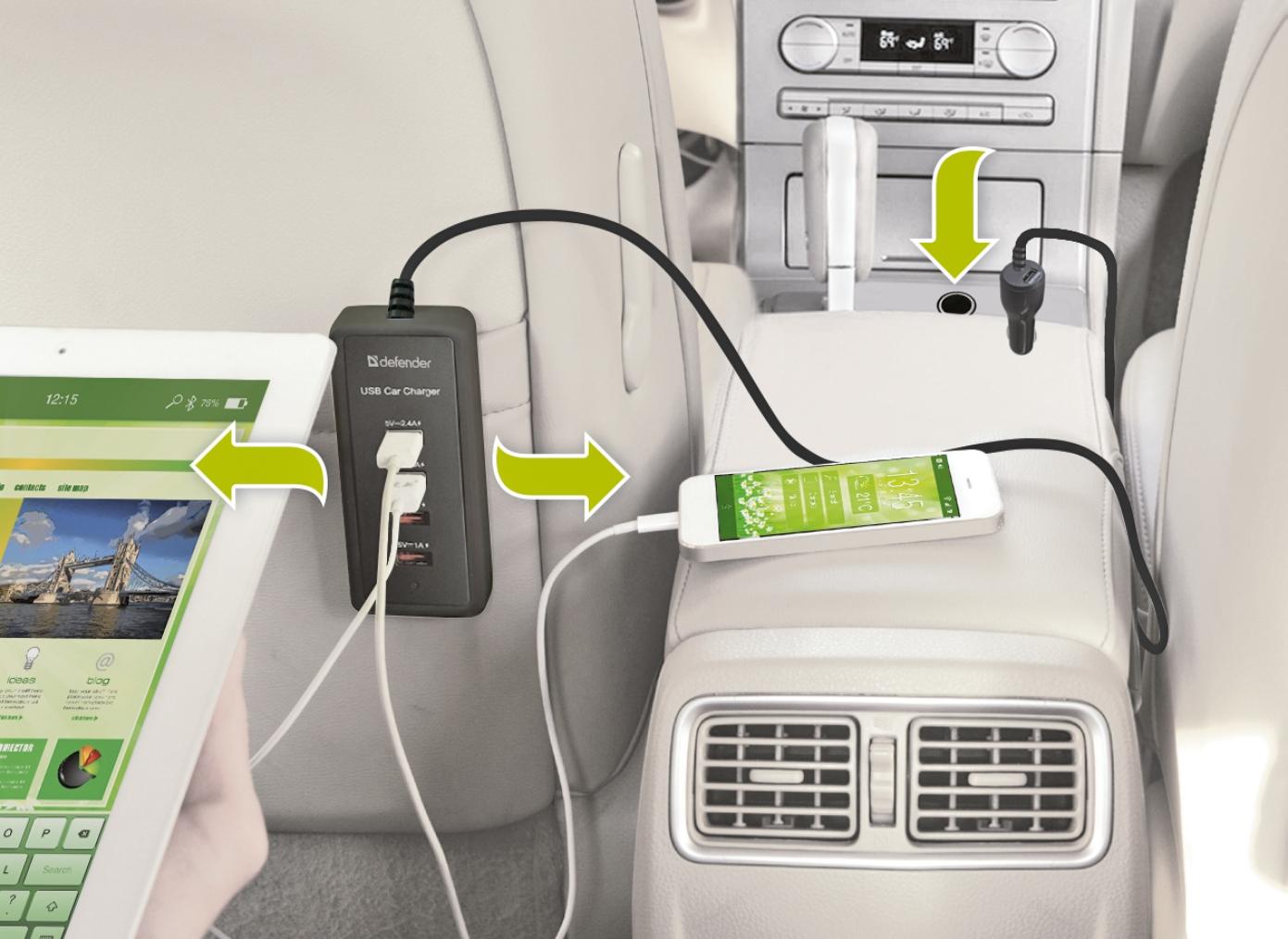 Spolehlivě dobije všechna Vaše zařízení z cigaretového zapalovače osobního automobilu s napájecím napětím 12 V a v případě nákladního automobilu s napájecím napětím 24 V.