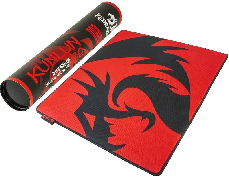 Herní podložka Redragon Kunlun L v kombinaci přírodního kaučuku a hedvábí, která zvyšuje přesnost a reakci herních myší, rozměry 500x400x6mm, praktické balení v tubě.