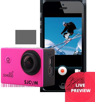 Sportovní kamera SJCAM™ SJ4000 WiFi má navíc již vestavěný WiFi modul, který komunikuje s aplikací ve Vašem mobilním zařízení či tabletu a tím umožňuje pozorovat snímaný obraz nebo kameru ovládat.