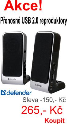 Maxi sleva! Přenosné USB reproduktory Defender SPK-225 set 2.0 nyní jen za 265,-Kč. Koupit zde.
